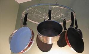 Хранение сковородок на кухне.