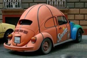 Автомобиль в виде баскетбольного мяча.