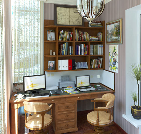 Рабочий кабинет на балконе