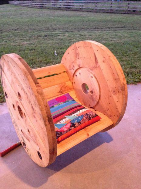 Кресло-качалка своими руками из деревянной бухты для кабеля