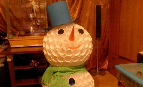 Новогодние снеговики из стаканчиков своими руками