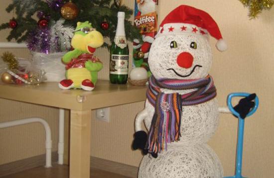 Новогодние снеговики из ниток своими руками