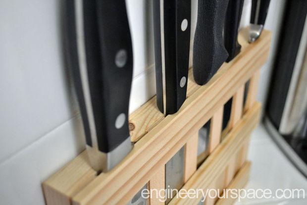 Склеенная деревянная подставка для ножей