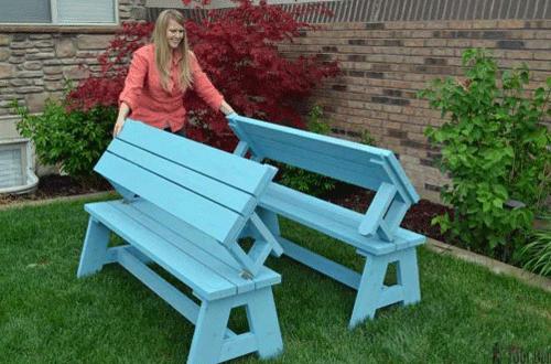 Скамейка стол своими руками для дачи или частного дома