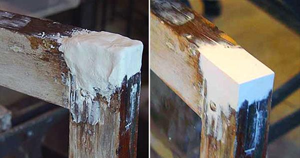 Шпатлевка дефектов поверхности при реставрации деревянных окон