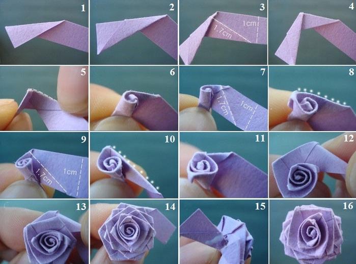 Простая роза из бумаги своими руками