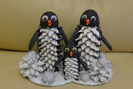 Поделки из шишек своими руками - Пингвины