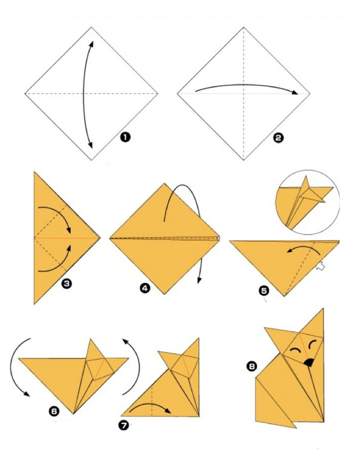 Простая схема лисички оригами