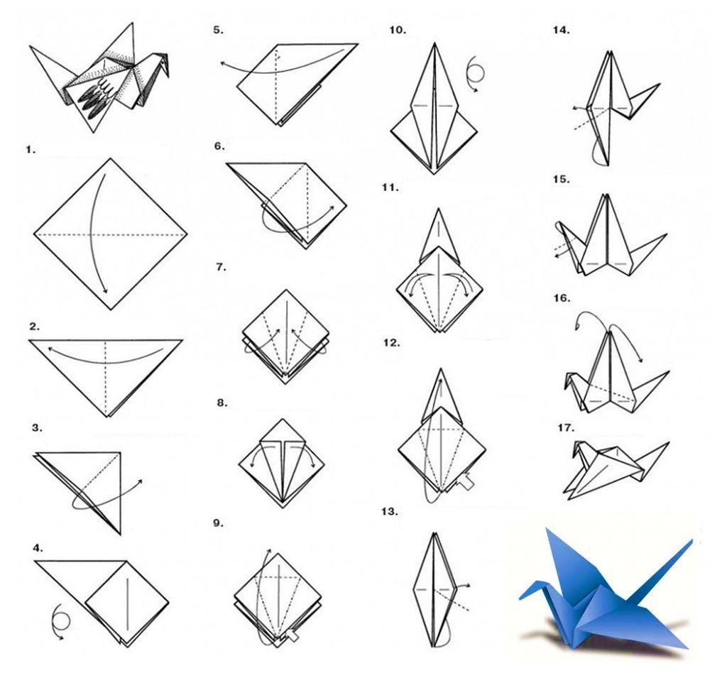 Схема оригами журавлик из бумаги