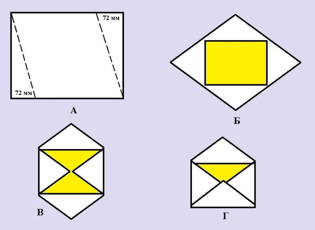 Схема изготовления конверта №2