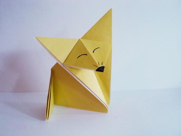 Лиса оригами схема для детей