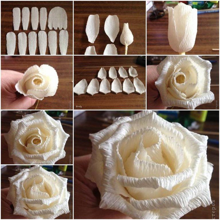 Сделать розы из гофрированной бумаги своими руками пошагово 3
