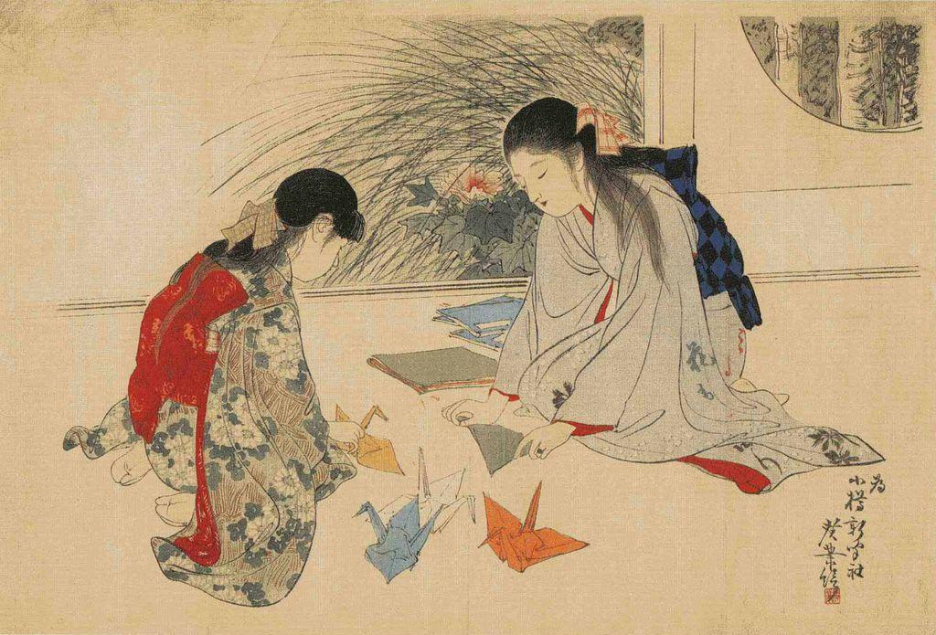 Японский журавлик из бумаги