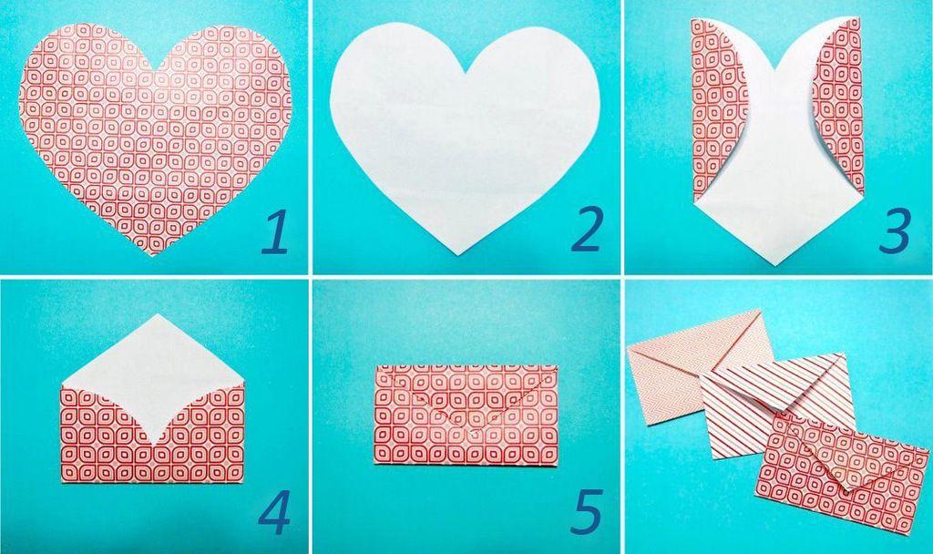 Как сделать конверт и сердца