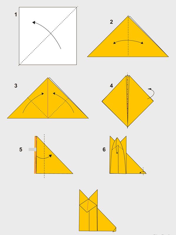 Как сделать лису из бумаги поэтапно