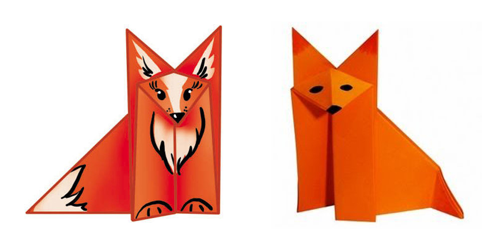 Поделка лисы из бумаги