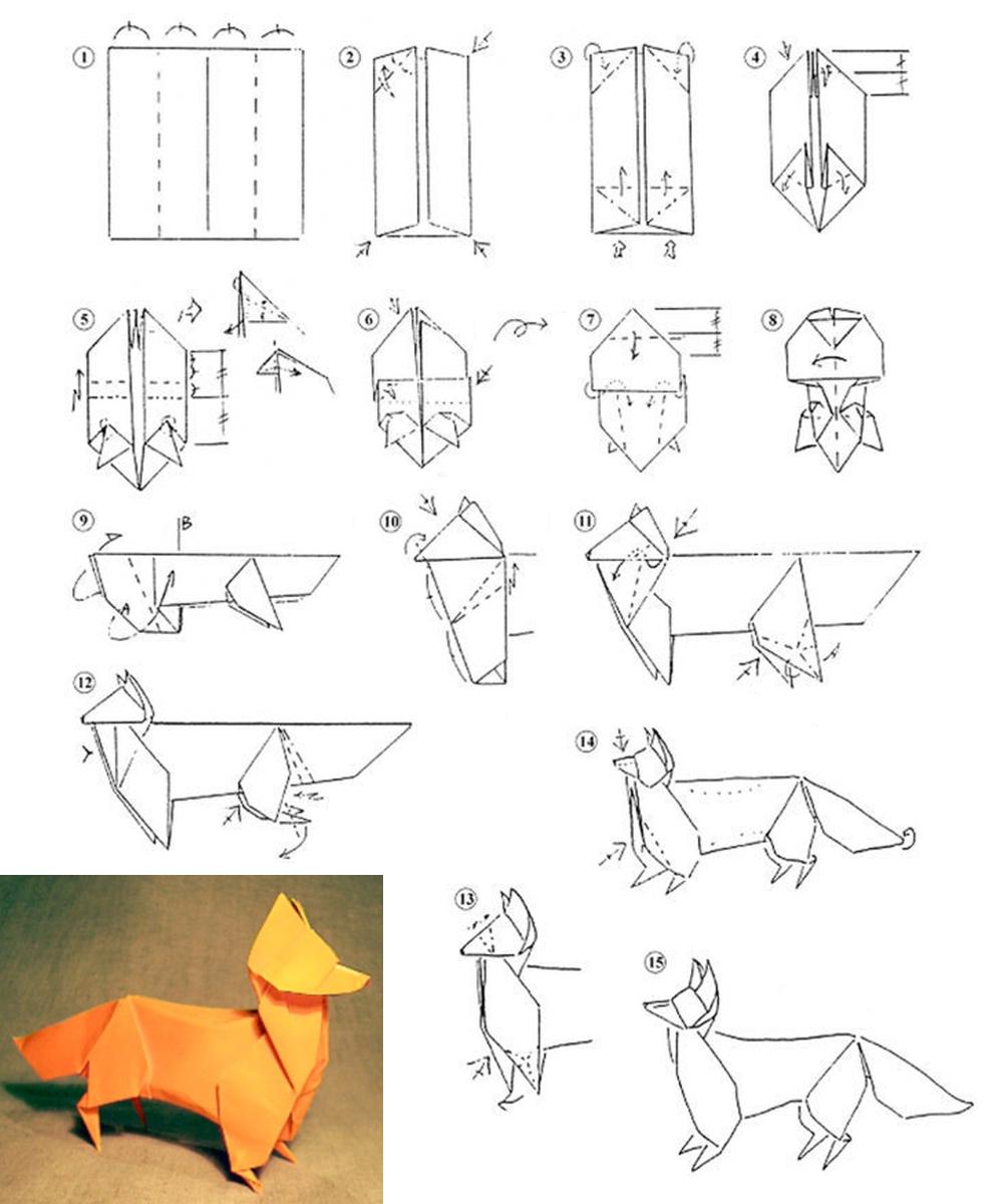 Объемная лиса из бумаги