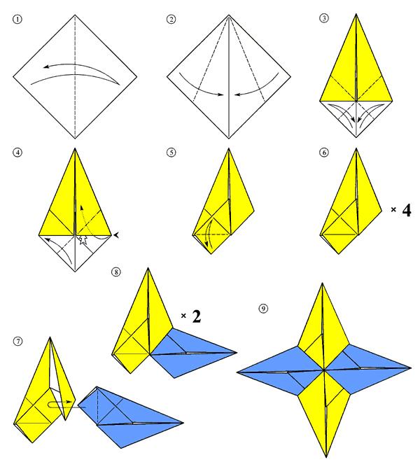 Четырехконечная бумажная звезда. Схема сборки.