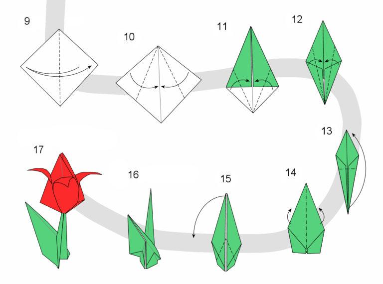 Оригами из бумаги без клея схемы