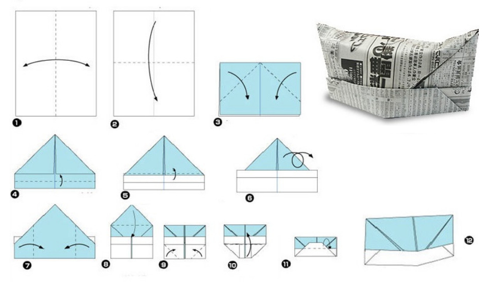 Оригами пилотка из бумаги