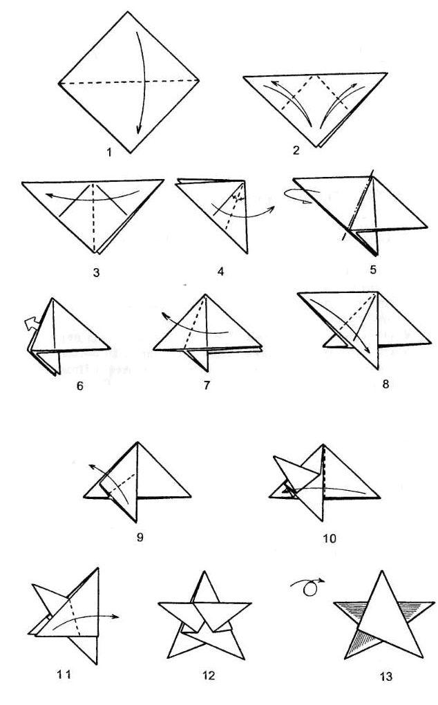 Как сделать выпуклую пятиконечную звезду из бумаги - схема