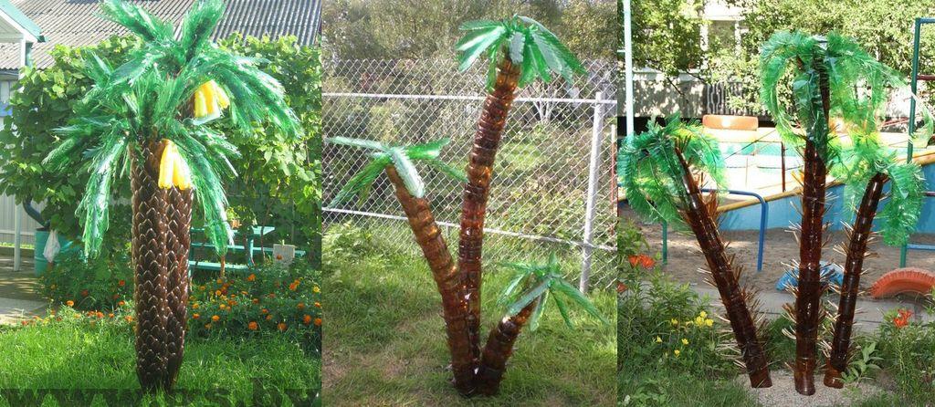 Варианты изготовления ствола пальмы из бутылок