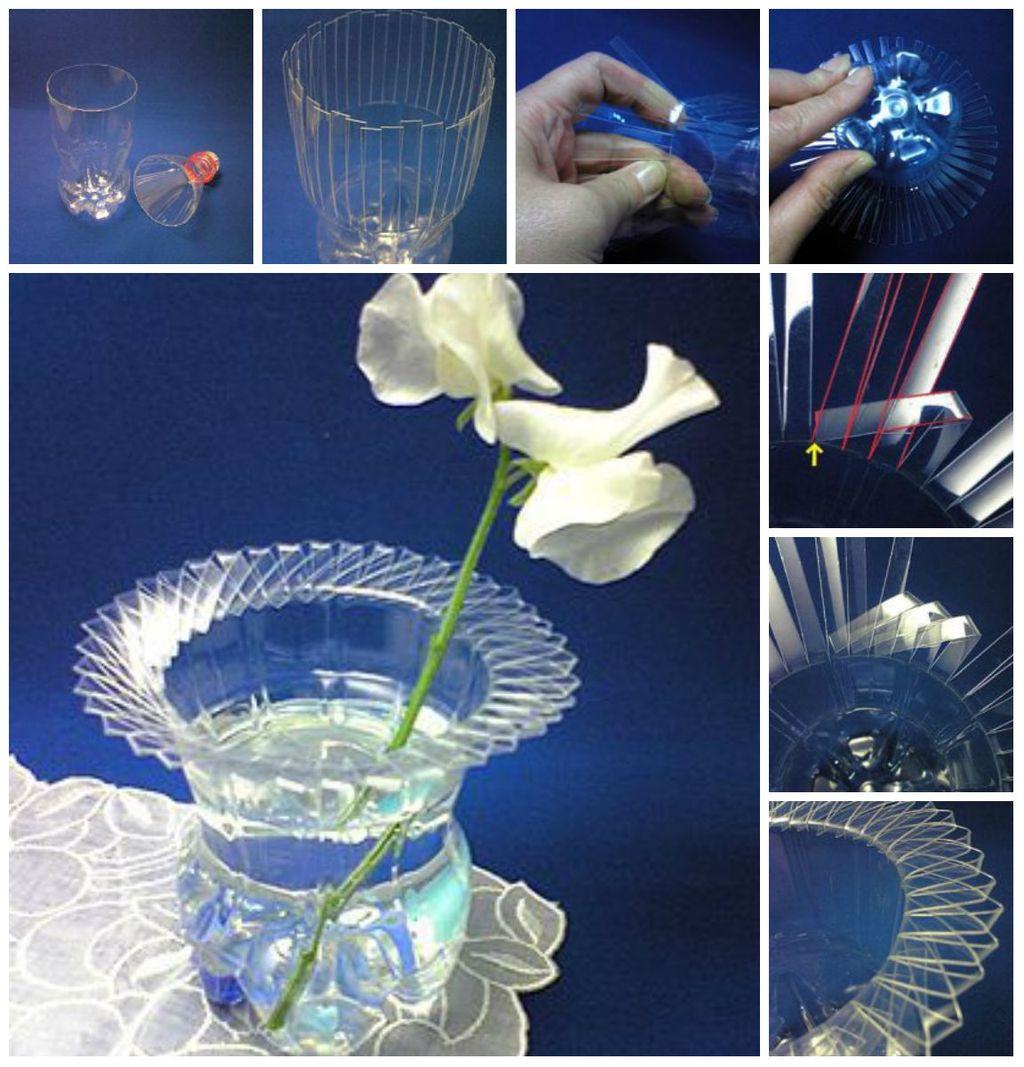 Пластиковая ваза с фигурным бордюром