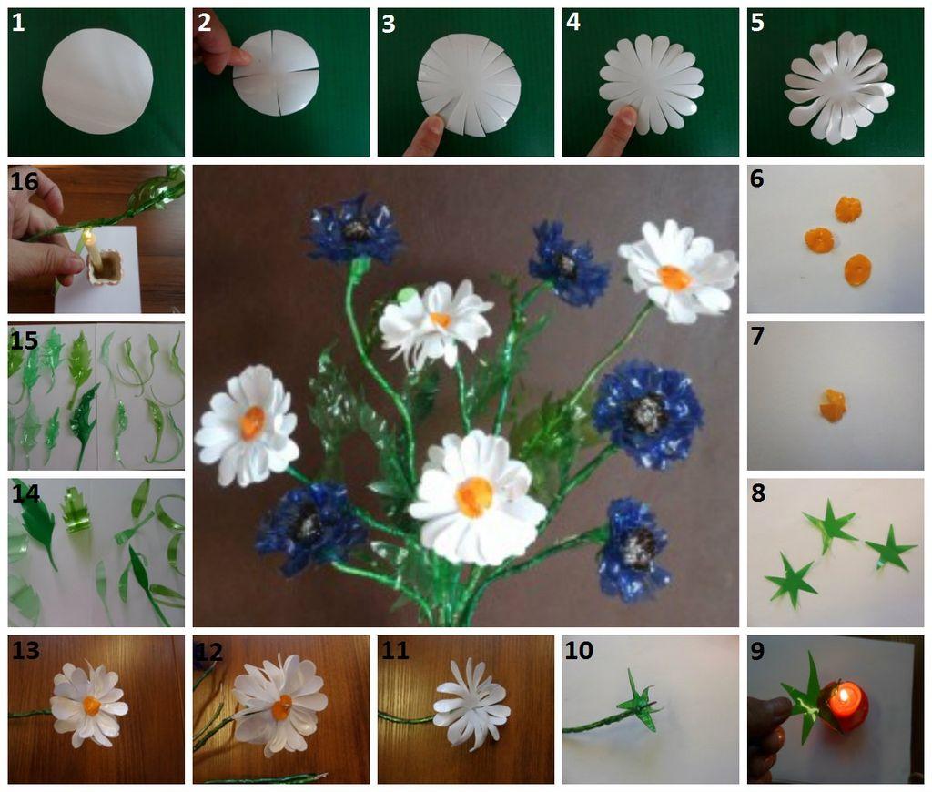 Как сделать цветы из пластиковой бутылки с описанием