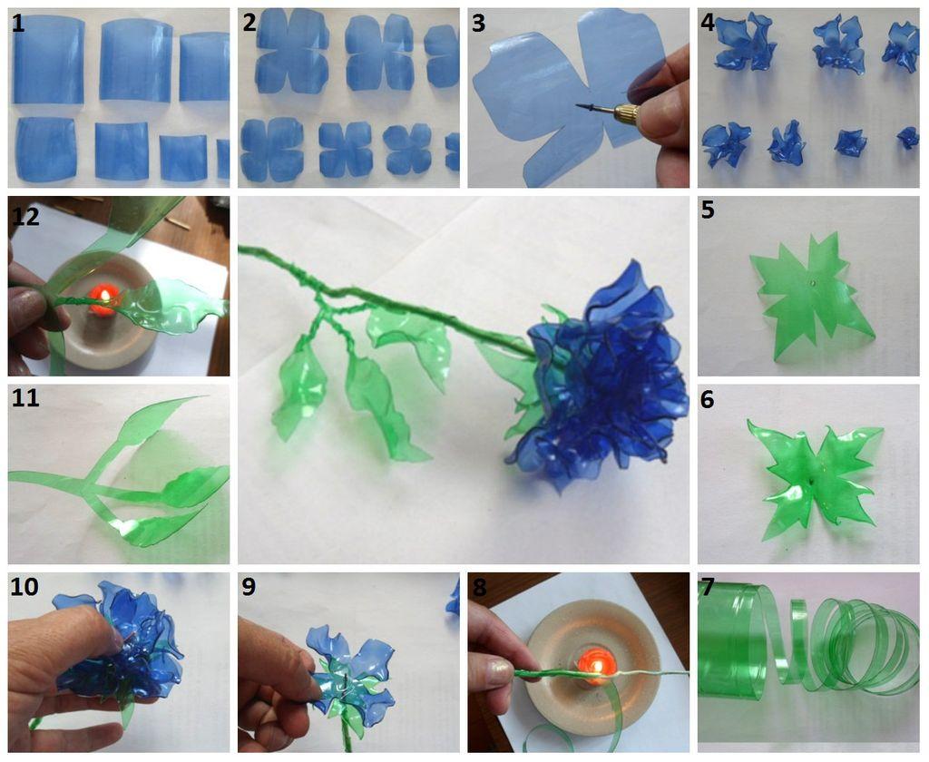 Схема изготовления розы из бутылки