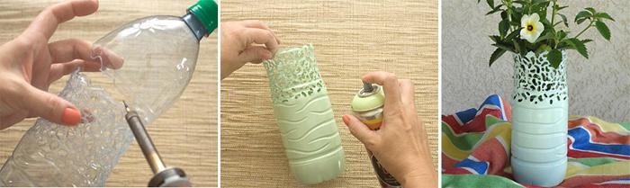 Ажурная ваза из пластиковой бутылки