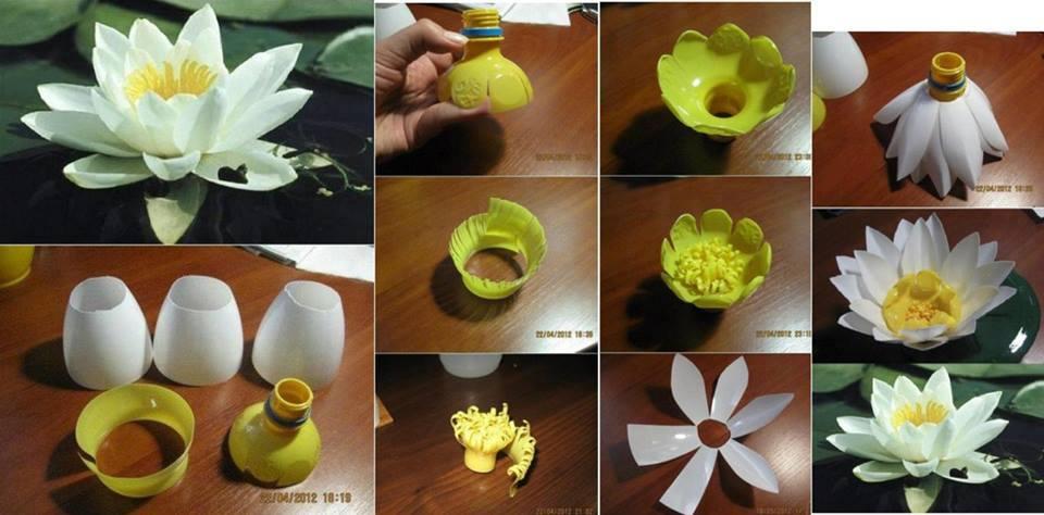 Цветок из пластиковой бутылки своими руками пошагово